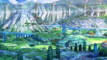 Nagi_no_asukara-04-shioshishio-underwater_village-fish-sunlight-water_surface-mountains-greenery-bridges